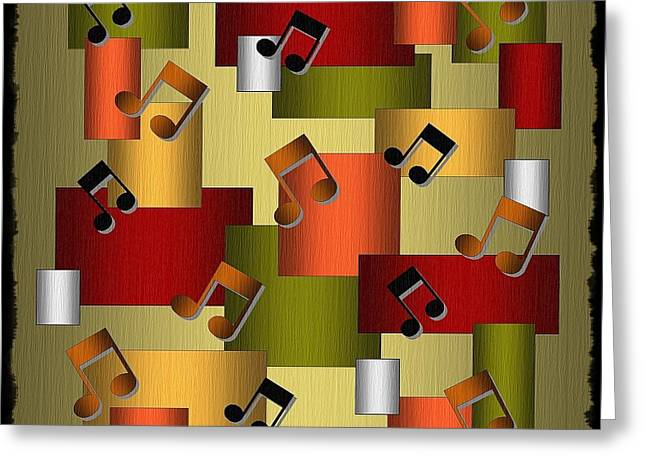 Music Series Golden Notes Abstract Greeting Card by Terry Mulligan