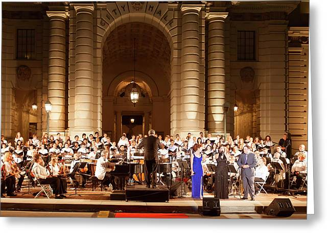 Greeting Card featuring the photograph Music Under The Stars - Symphony At Pasadena City Hall California by Ram Vasudev