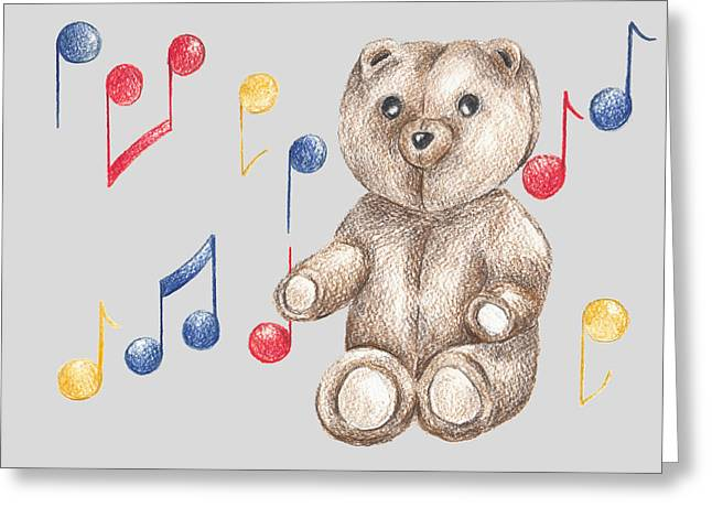 Musical Bear Greeting Card by Rebecca Harrick