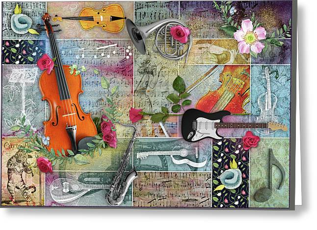 Musical Garden Collage Greeting Card