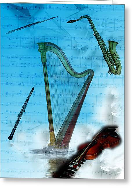 Greeting Card featuring the digital art Musical Instruments by Angel Jesus De la Fuente