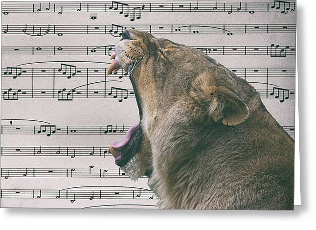 Musical Lion Greeting Card