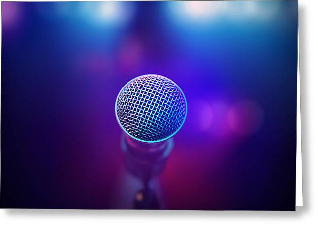 Musical Microphone On Stage Greeting Card by Johan Swanepoel