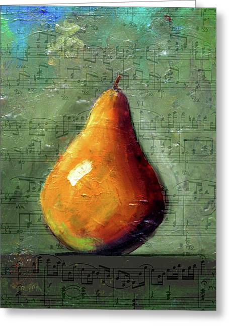 Musical Pear Greeting Card by Nancy Merkle