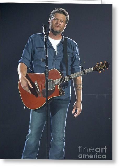 Musician Blake Shelton  Greeting Card by Concert Photos