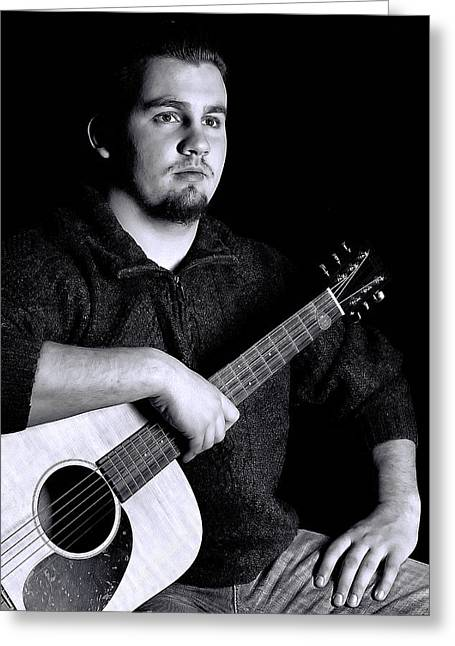 Musician Playing Guitar Portrait Greeting Card by Trudy Wilkerson