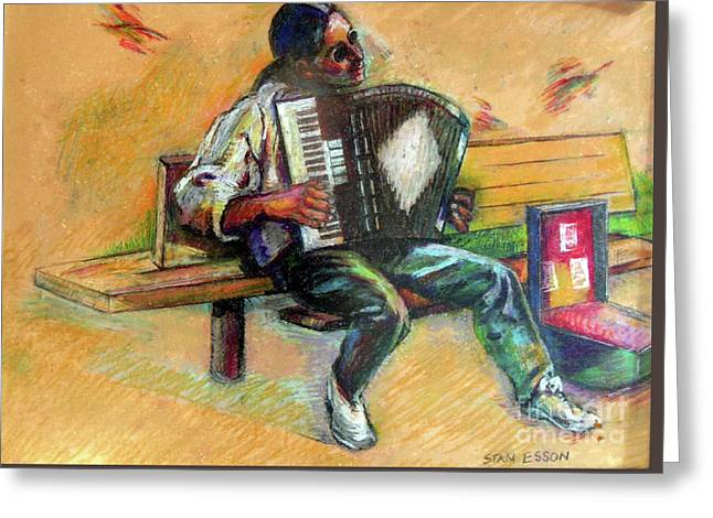 Musician With Accordion Greeting Card by Stan Esson