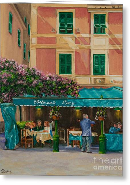 Italian Med Greeting Cards - Musicians Stroll In Portofino Greeting Card by Charlotte Blanchard