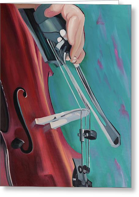 Musicien With Cello Greeting Card by Atelier B Art Studio