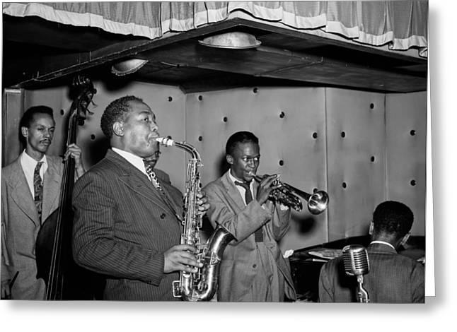Music's Golden Era - Charlie Parker And Miles Davis 1947 Greeting Card