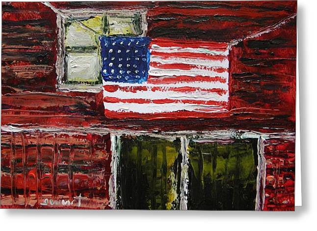 Flag Day Drawings Greeting Cards - Musing-Glory Above the Door Greeting Card by John  Williams