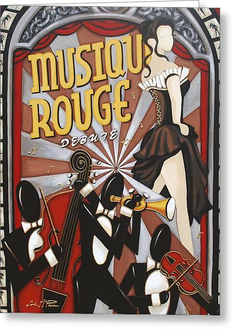 Figure Based Paintings Greeting Cards - Musique Rouge Greeting Card by Lori McPhee