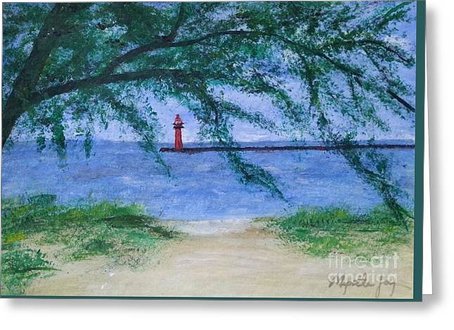 Muskegon Channel Lighthouse Summer Greeting Card by Myrtle Joy