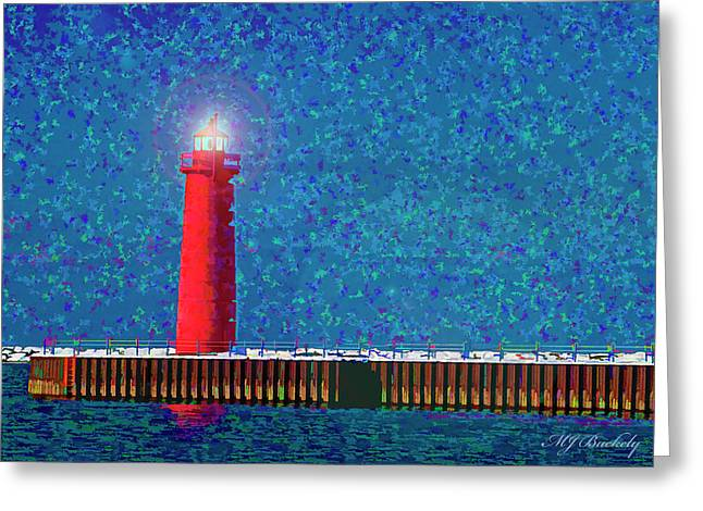 Muskegon Lighthouse Greeting Card by Marti Buckely
