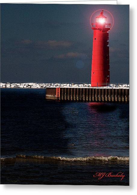 Muskegon Mi Lighthouse Greeting Card by Marti Buckely