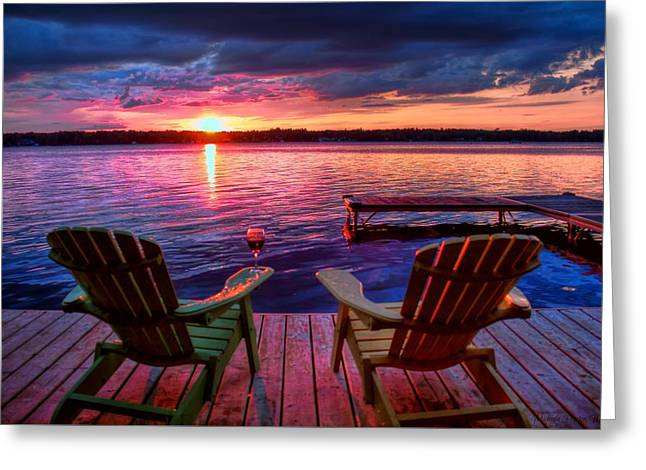 Greeting Card featuring the photograph Muskoka Chair Sunset by Michaela Preston