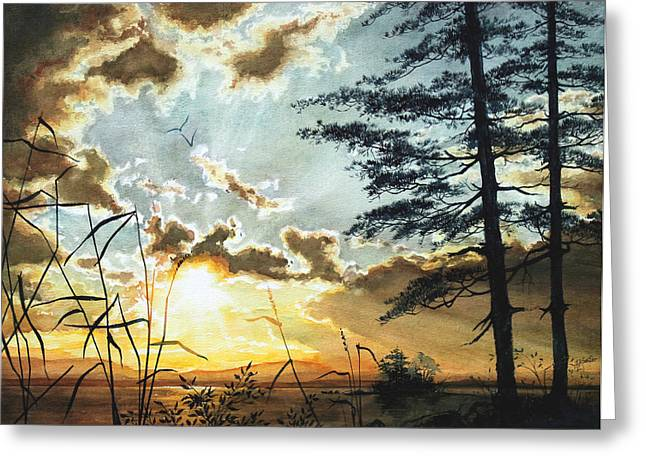 Sunset Prints Greeting Cards - Muskoka Dawn Greeting Card by Hanne Lore Koehler