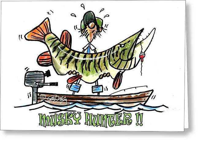 Musky Hunter - Cartoon Greeting Card by Peter McCoy
