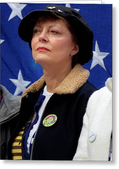 Muslim Rally Nyc 2_19_17 Susan Sarandon Greeting Card by Robert Ullmann