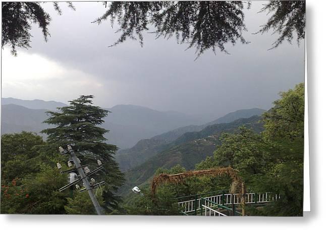 Mussoorie Monsoons Greeting Card by Padamvir Singh