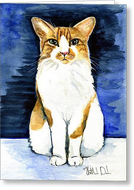 Mustached Bicolor Beauty - Cat Portrait Greeting Card