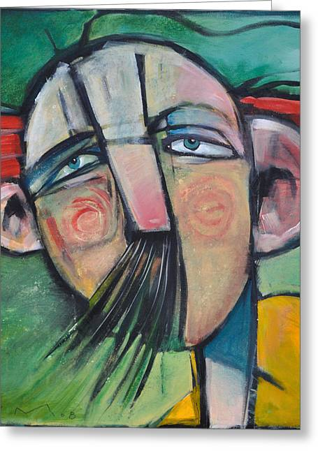 Mustached Man In Wind Greeting Card by Tim Nyberg