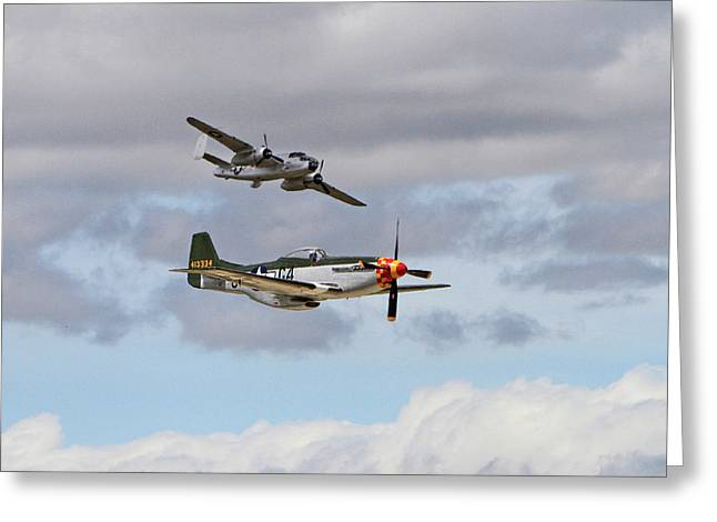 Mustang And Mitchell Greeting Card