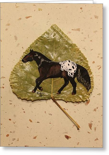 Mustang Appaloosa On Poplar Leaf Greeting Card
