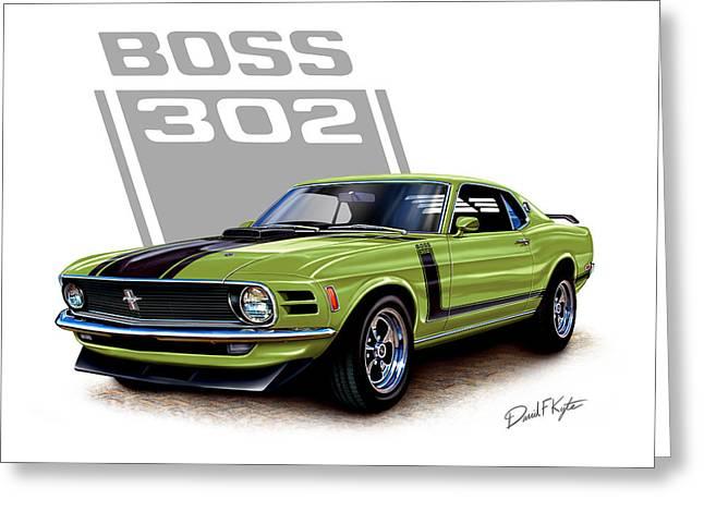 Mustang Boss 302 Grabber Green Greeting Card by David Kyte