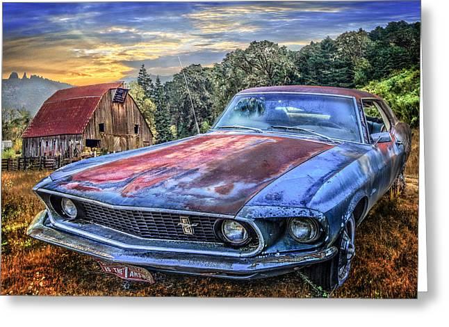 Mustang Greeting Card by Debra and Dave Vanderlaan