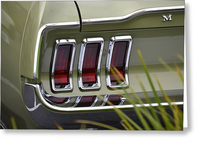 Mustang Fastback In Green Greeting Card by Dean Ferreira