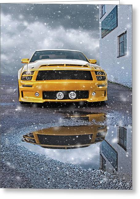 Mustang Gtr In Snow Greeting Card