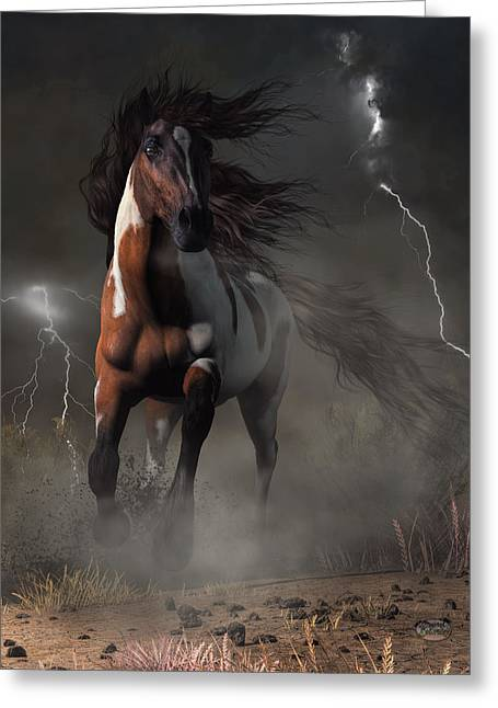 Mustang Horse In A Storm Greeting Card by Daniel Eskridge