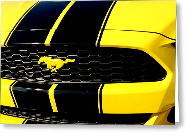 Mustang In Yellow Greeting Card by Louis Meyer
