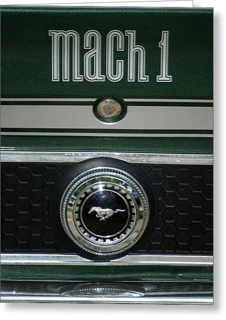 Photography By Tom Woolworth Greeting Cards - Mustang Mach 1 Emblem Greeting Card by Thomas Woolworth