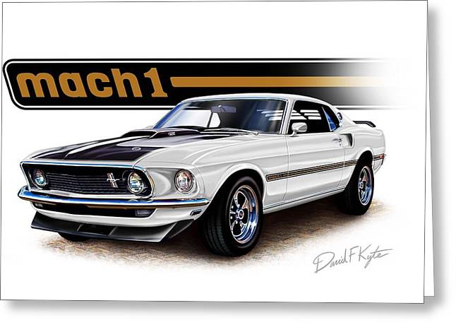 Mustang Mach 1 White Greeting Card by David Kyte