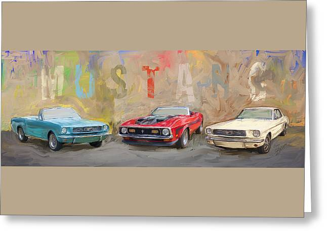 Mustang Panorama Painting Greeting Card