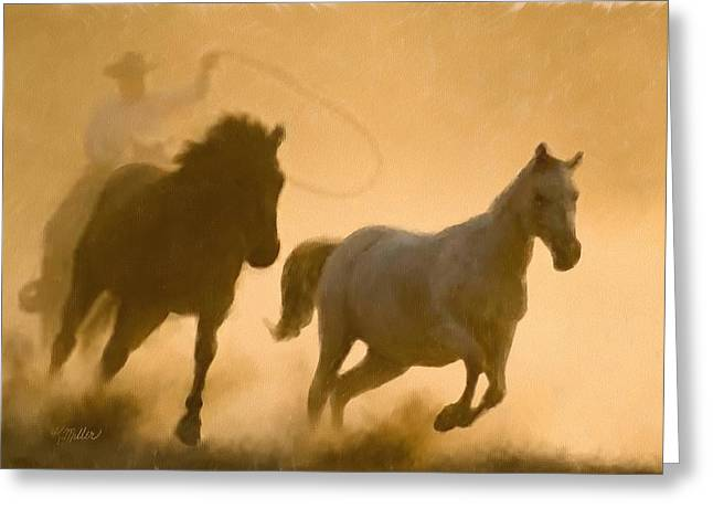 Mustang Roundup Greeting Card by Kathie Miller