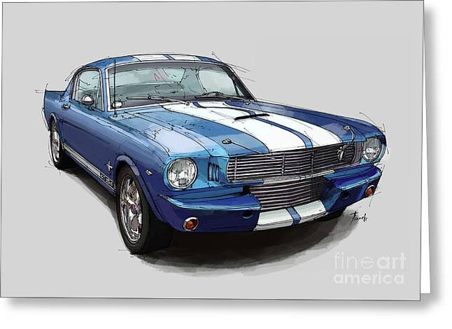 Mustang Shelby 1965 Handmade Drawing For Man Cave Greeting Card