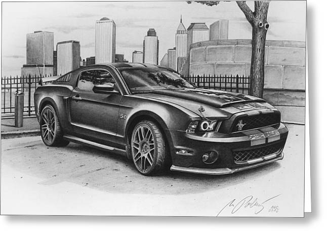Mustang Shelby Gt 500 Original Drawing Greeting Card by Miro Porochnavy