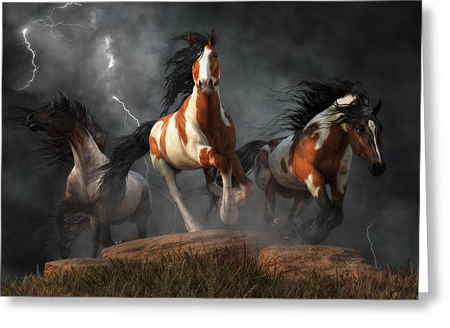 Greeting Card featuring the digital art Mustangs Of The Storm by Daniel Eskridge