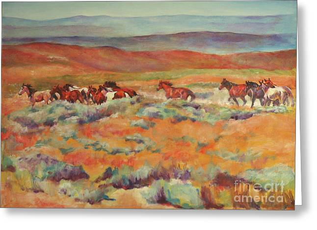 Mustangs Running Near White Mountain Greeting Card by Karen Brenner