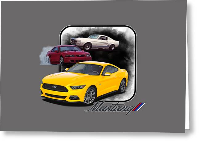 Mustangs Through Time Greeting Card by Paul Kuras
