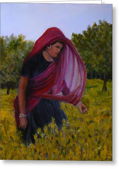 Mustard Fields Of India Greeting Card by Betty Pimm