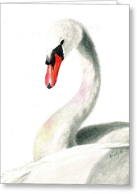 Muted Drawings Greeting Cards - Mute Swan Greeting Card by Wendy Mould