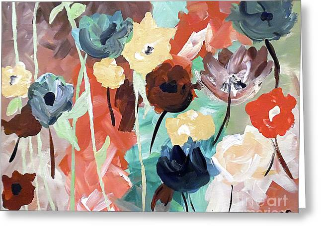 Muted Floral Abstraction Greeting Card by Jilian Cramb - AMothersFineArt