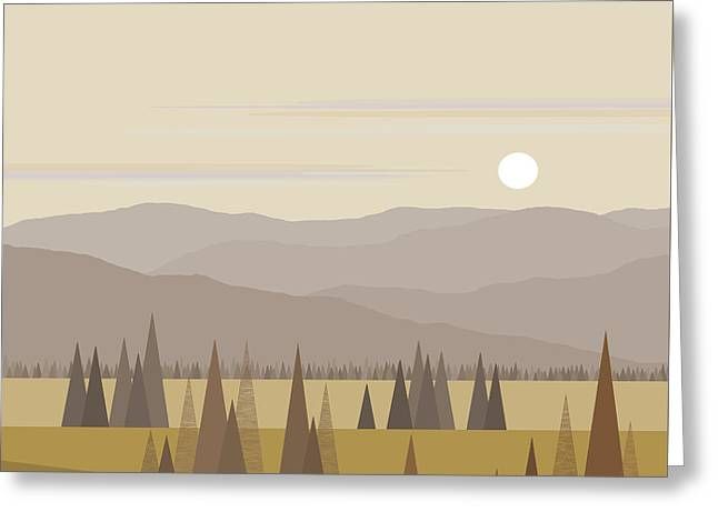 Muted Landscape Greeting Card by Val Arie