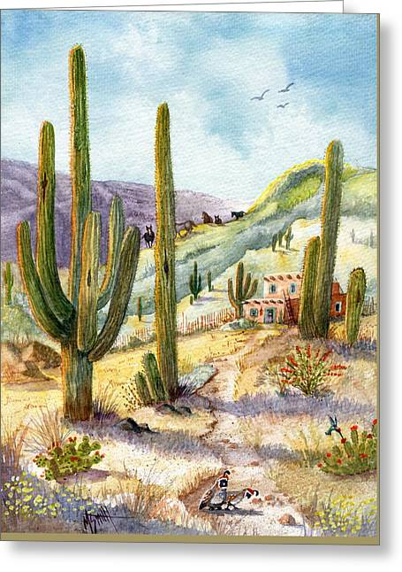Greeting Card featuring the painting My Adobe Hacienda by Marilyn Smith