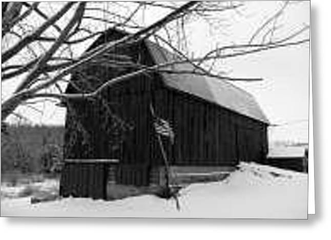 My America Black And White Greeting Card by Jennifer Compton