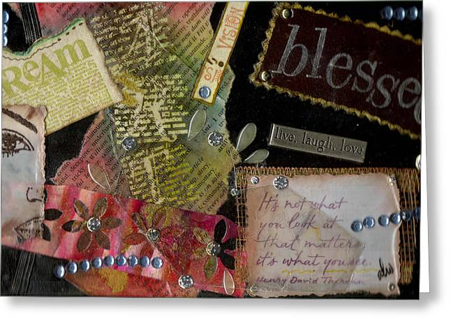 Grettings Greeting Cards - My Art Journal - Blessed Greeting Card by Angela L Walker